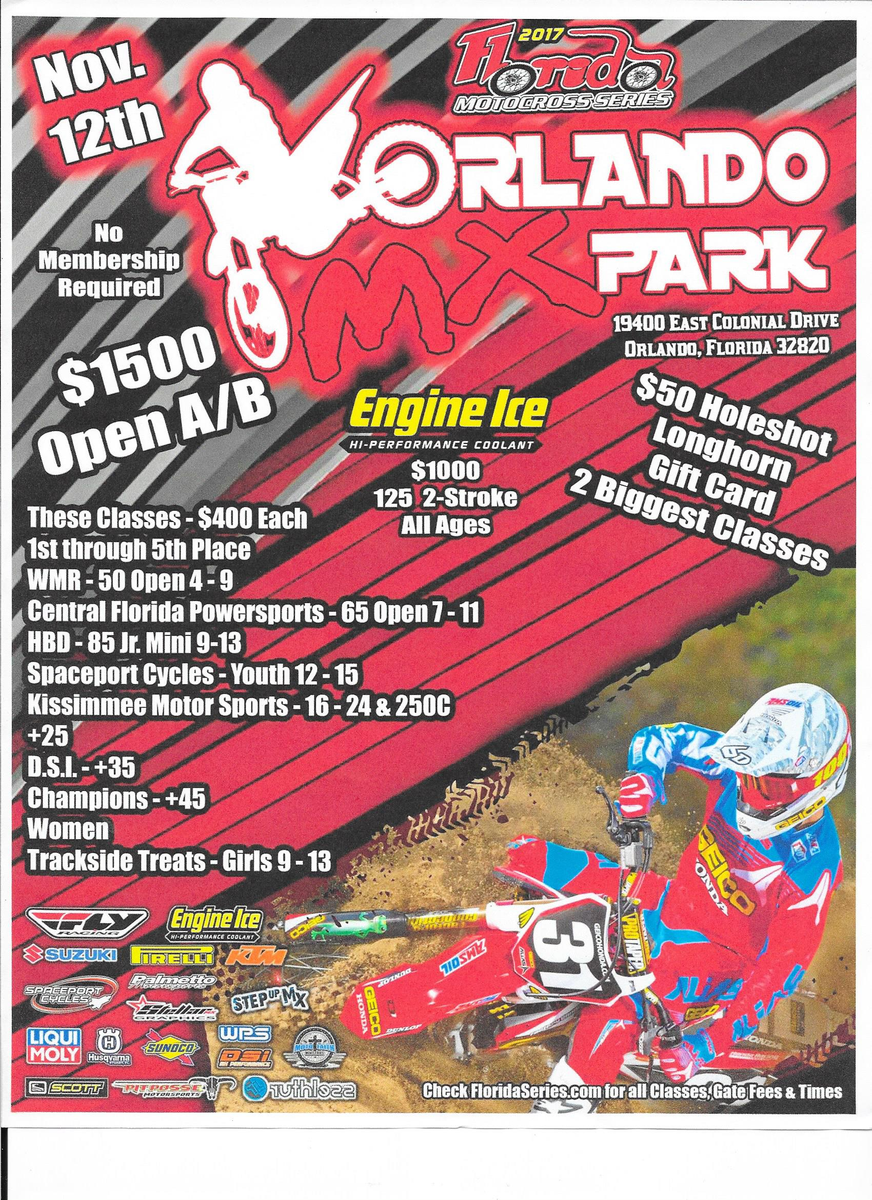 $200 IN FLY BUCKS WILL BE GIVEN IN 50cc OIL, SUPERMINI 10 15, VET NOVICE  AND +50 CLASSES. ORLANDO ROOFING AND CONTRACTING HAS ALSO PUT $200 TOWARDS  HOLESHOT ...